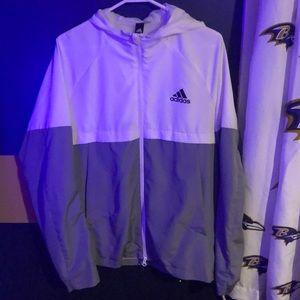 Adidas White and Grey Windbreaker.